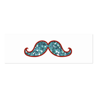 FUNNY BLUE MUSTACHE GLITTER PACK OF SKINNY BUSINESS CARDS