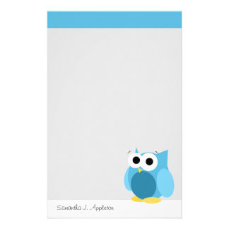 Funny Blue Owl - Personalized Stationery