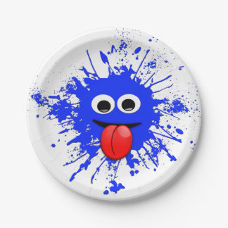 Funny Blue Paint Splat Dude Paper Plate
