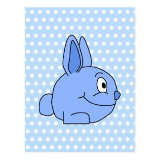 Funny Blue Rabbit Cartoon Postcards