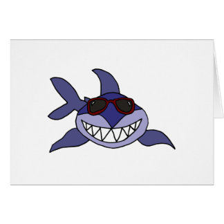 Funny Blue Shark with Sunglasses Card