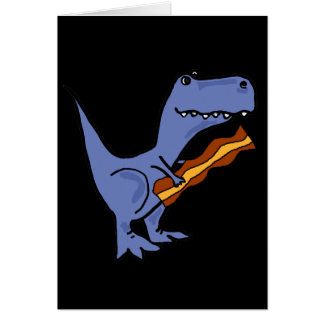 Funny Blue T-rex Dinosaur Eating Bacon Art Card