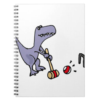 Funny Blue T-Rex Dinosaur Playing Croquet Notebook