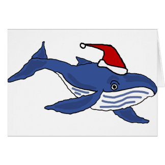 Funny Blue Whale in Santa hat Christmas Art Card