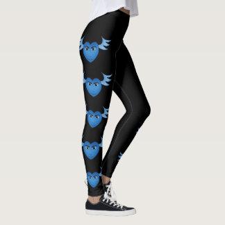 Funny blue winged heart leggings