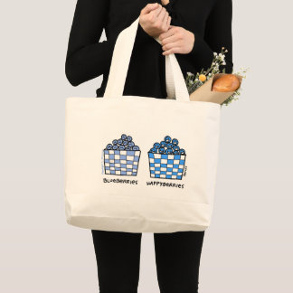Funny Blueberries Cartoon Grocery Tote