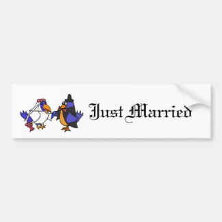 Funny Bluebirds Bride and Groom Wedding Bumper Sticker