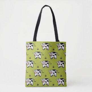 Funny Blushing Pooping Cow Pattern Tote Bag