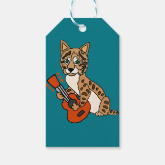 Funny Bobcat Playing Guitar Art Gift Tags