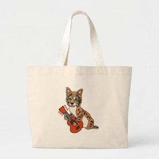Funny Bobcat Playing Guitar Art Large Tote Bag