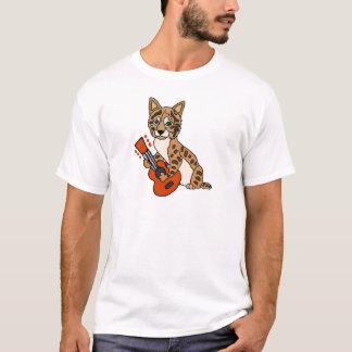 Funny Bobcat Playing Guitar Art T-Shirt
