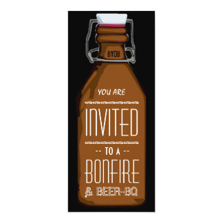 Funny Bonfire & Beer BQ Barbecue Engagement Party 10 Cm X 24 Cm Invitation Card