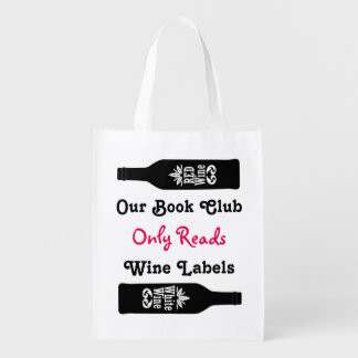 Funny book club wine sayings | Personalized Reusable Grocery Bag