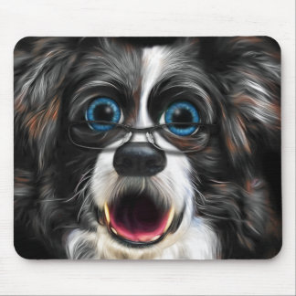 Funny Border Collie in Glasses Painting Mouse Pad