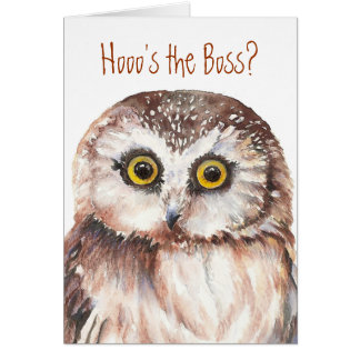 Funny Boss Birthday, Wise Owl Humor Card