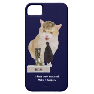 Funny Boss Cat with Toupee iPhone 5 Cases
