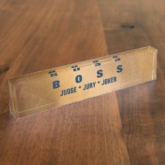 Funny Boss Copper And Navy Desk Nameplates. Name Plate