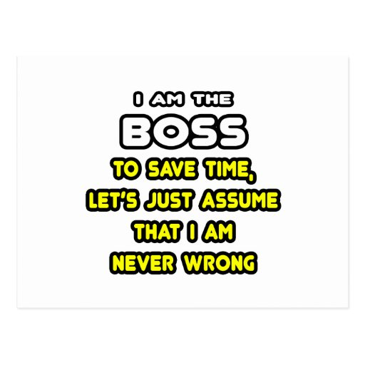 Funny Boss T-Shirts and Gifts Postcard