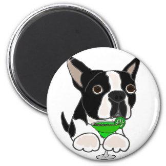Funny Boston Terrier Dog Drinking Margarita 6 Cm Round Magnet