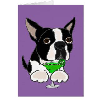 Funny Boston Terrier Dog Drinking Margarita Card
