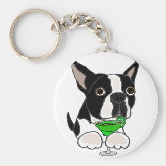 Funny Boston Terrier Dog Drinking Margarita Key Ring