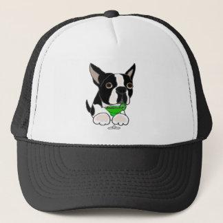 Funny Boston Terrier Dog Drinking Margarita Trucker Hat