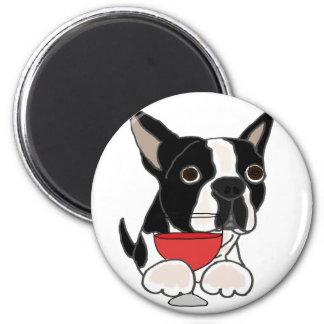 Funny Boston Terrier Dog Drinking Wine Art 6 Cm Round Magnet