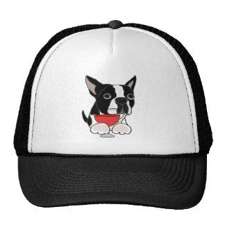 Funny Boston Terrier Dog Drinking Wine Art Cap