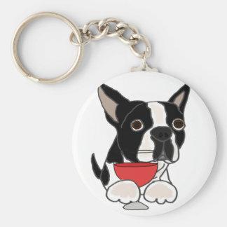 Funny Boston Terrier Dog Drinking Wine Art Key Ring