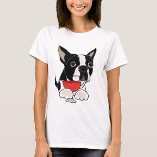 Funny Boston Terrier Dog Drinking Wine Art T-Shirt