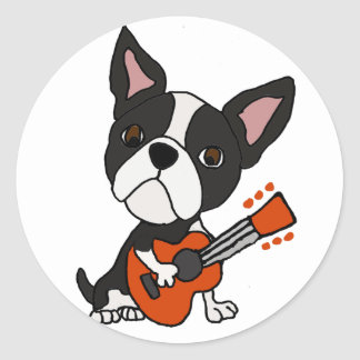 Funny Boston Terrier Dog Playing Guitar Art Classic Round Sticker