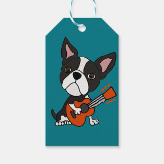 Funny Boston Terrier Dog Playing Guitar Art Gift Tags