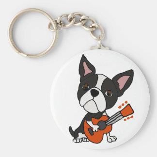 Funny Boston Terrier Dog Playing Guitar Art Key Ring