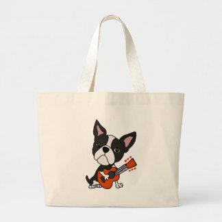 Funny Boston Terrier Dog Playing Guitar Art Large Tote Bag