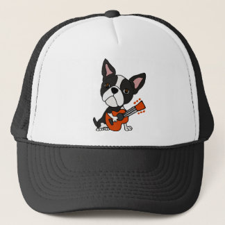 Funny Boston Terrier Dog Playing Guitar Art Trucker Hat