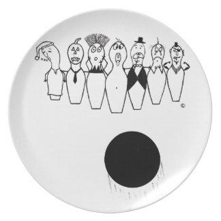 Funny bowling pin characters plate
