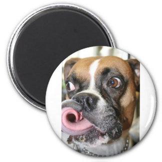 Funny Boxer Dog 6 Cm Round Magnet