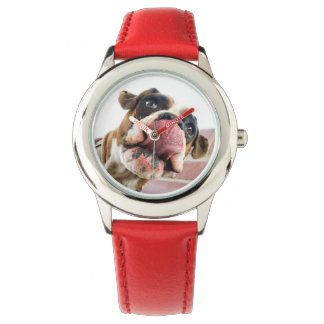 Funny Boxer Dog  Tongue Sticking Out Girl's Watch