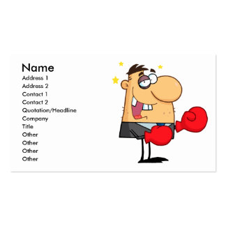 funny boxing beat up businessman business cards