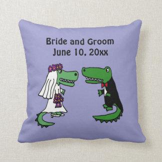 Funny Bride and Groom Alligator Wedding Art Cushion