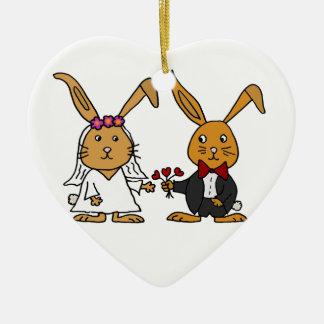 Funny Bride and Groom Brown Rabbit Wedding Cartoon Ceramic Heart Decoration
