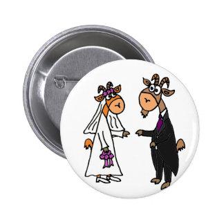 Funny Bride and Groom Goat Wedding 6 Cm Round Badge