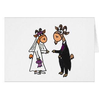 Funny Bride and Groom Goat Wedding Card