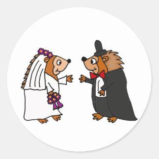 Funny Bride and Groom Hedgehog Wedding Art Classic Round Sticker