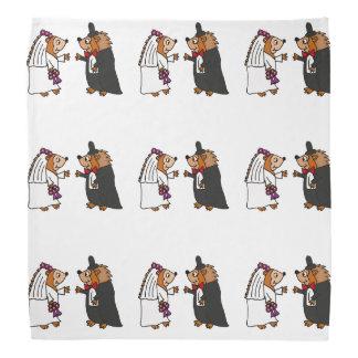 Funny Bride and Groom Hedgehog Wedding Art Bandana