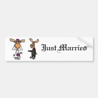 Funny Bride and Groom Moose Wedding Car Bumper Sticker