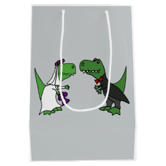 Funny Bride and Groom T-rex Dinosaur Gift Bag