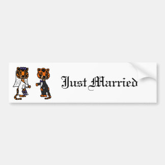 Funny Bride and Groom Tiger Wedding Art Bumper Sticker