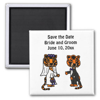 Funny Bride and Groom Tiger Wedding Art Refrigerator Magnets