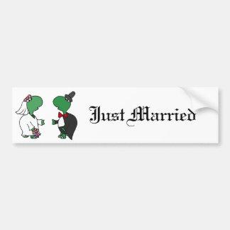 Funny Bride and Groom Turtle Wedding Design Bumper Sticker